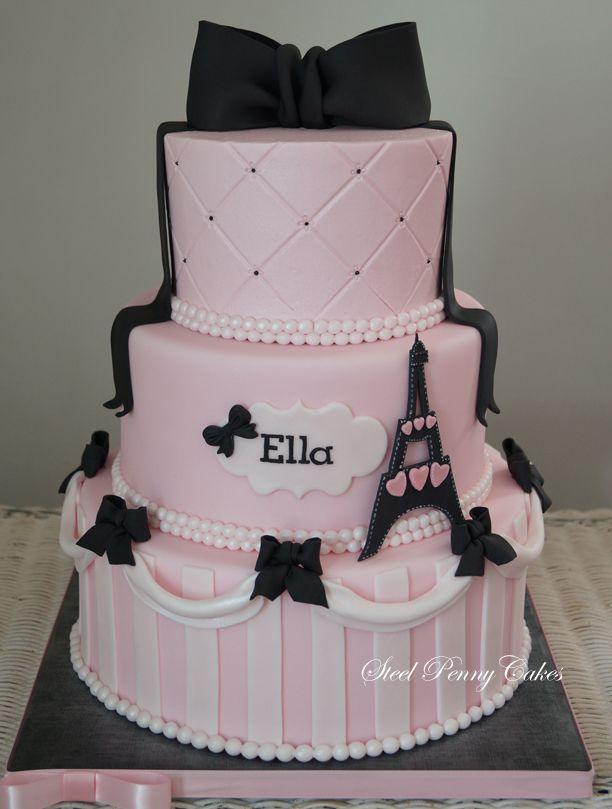 Paris in Pink 1st birthday cake 2 tiers fondant covered top
