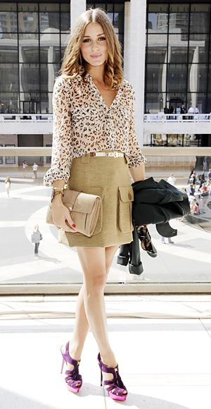 leopard top and khaki a line skirt