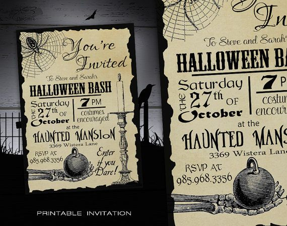 Halloween party invitation adult diy halloween for Vintage halloween party invitations