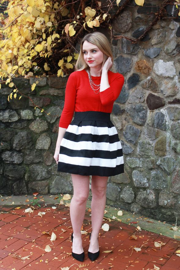 Black and White Stripe Skirt | Sleep, Can't sleep and Red sweaters