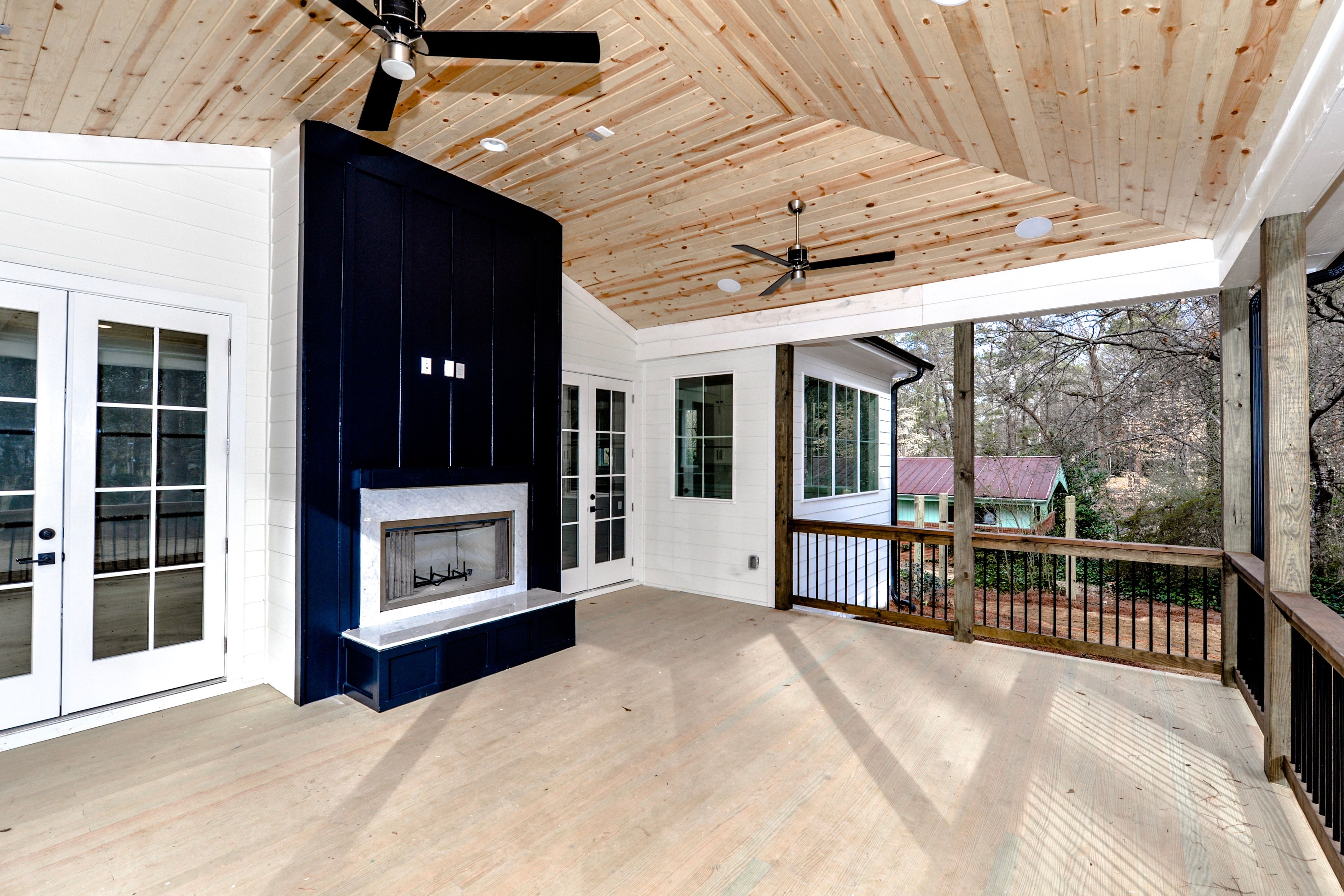 Vaulted Rear Covered Porch W Tongue And Groove Ceiling And Decking Custom Home Builders Home Builders Custom Homes