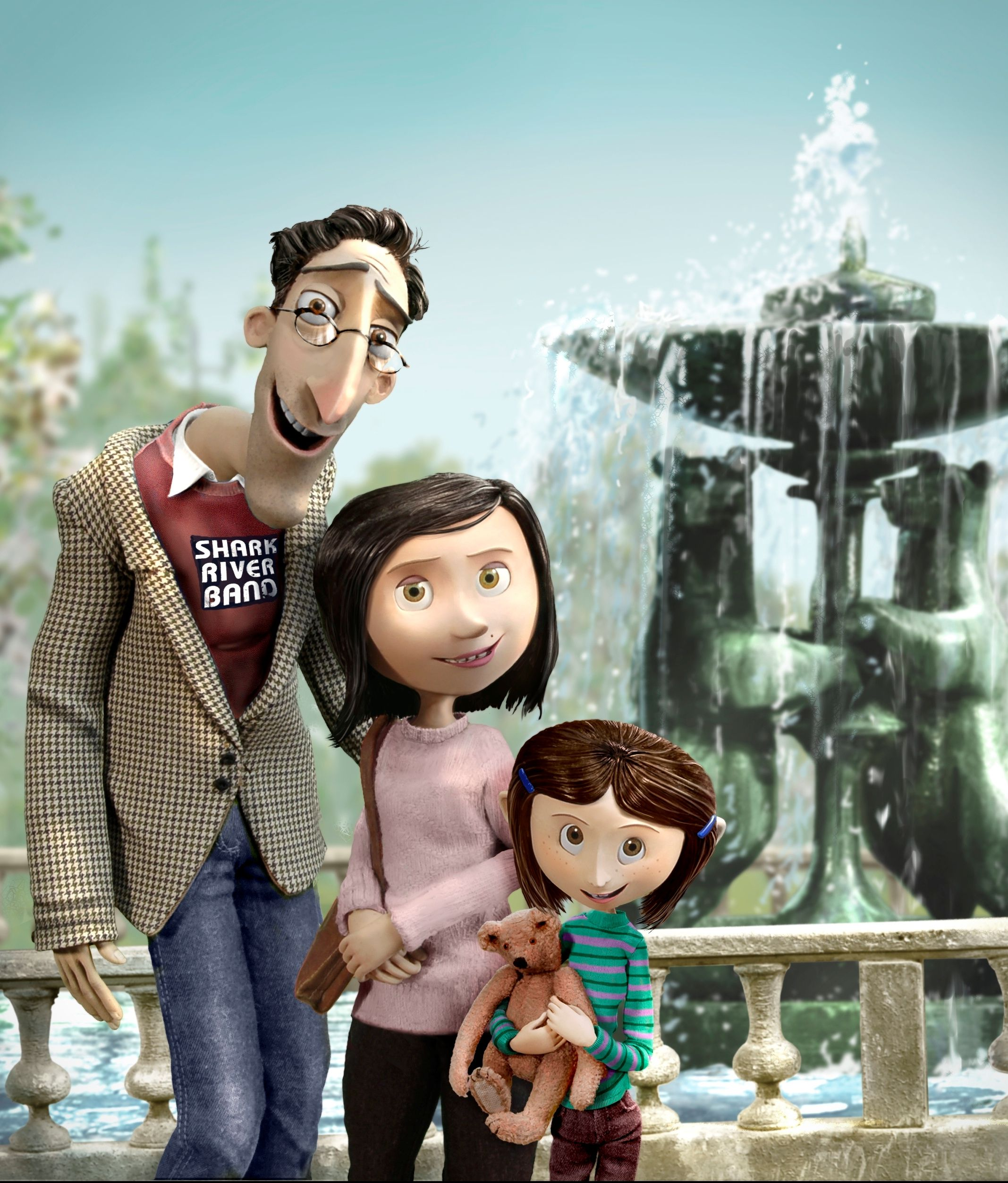 Coraline and her parents, when she was younger - it feels unfamiliar to see her with brown hair :D