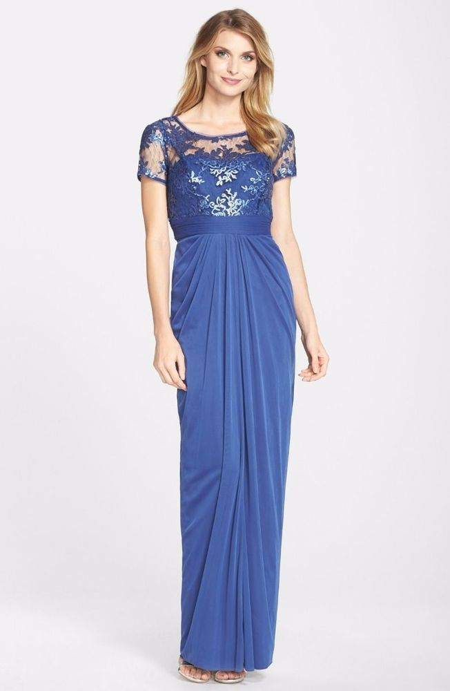 Adrianna papell sequin lace gown blue purple petite 8 # 495 nwt ...