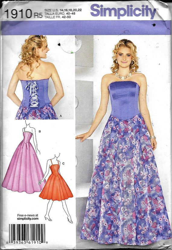 Simplicity 1910 Strapless Evening Dress Special Occasion ...