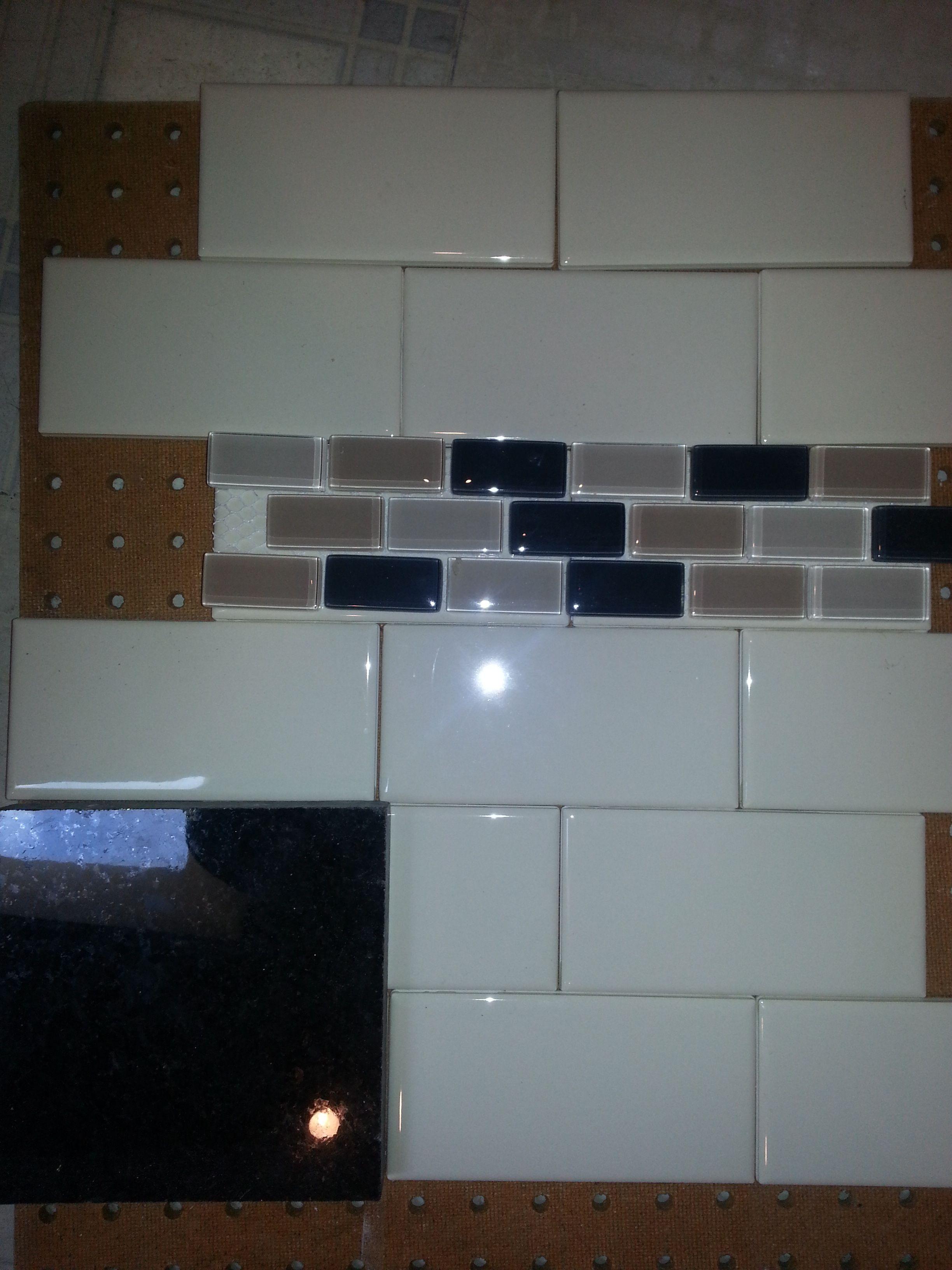 My backsplash pattern next to my black pearl / mysore polished black ...