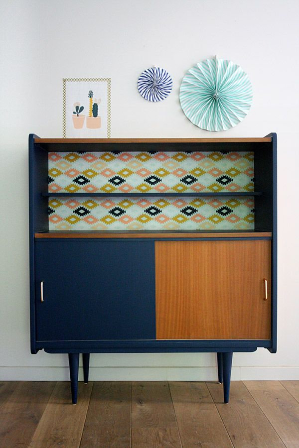 Buffet vintage diego r nov et relook par les jolis for Meuble salon retro