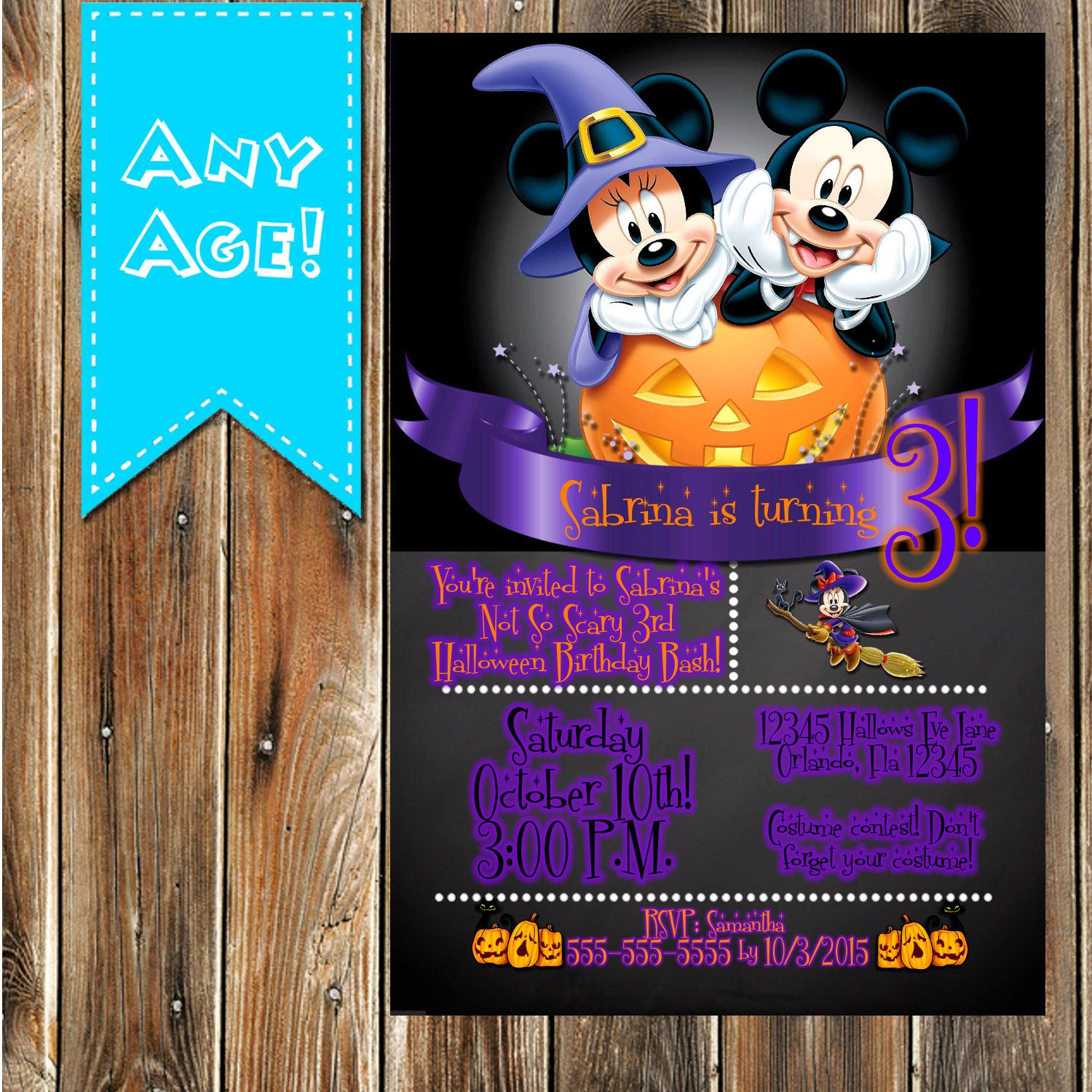 INSTANT DOWNLOAD Mickey Mouse Halloween Happy Birthday Sign ...