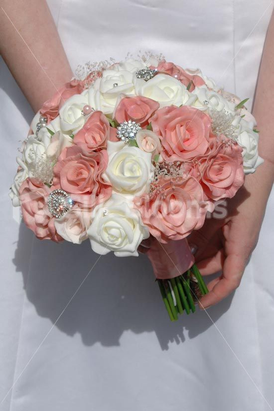 Ivory Foam Vintage Pink Real Touch Rose Wedding Bridal Bouquet