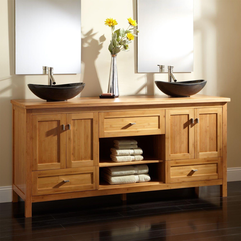 72 Loei Bamboo Double Vessel Sink Vanity Bathroom Vanities