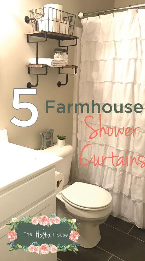The Best Farmhouse Shower Curtains On A Budget Rustic Bathroom