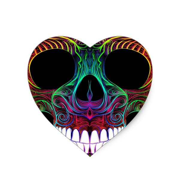 Superb sugar skull dia de los muertos candy skull heart sticker