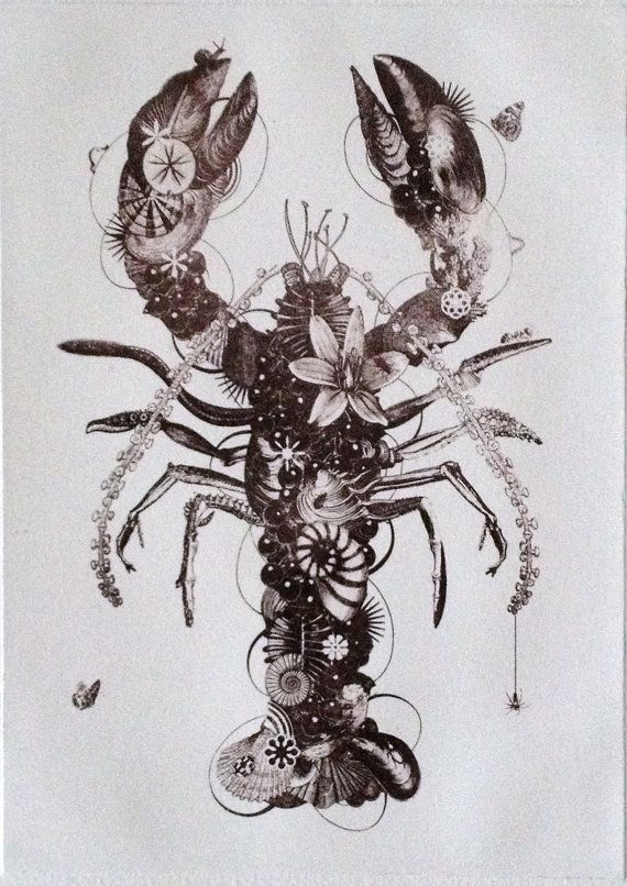 lobster original contemporary black and white by jacoputkerprints tattoo ideas. Black Bedroom Furniture Sets. Home Design Ideas