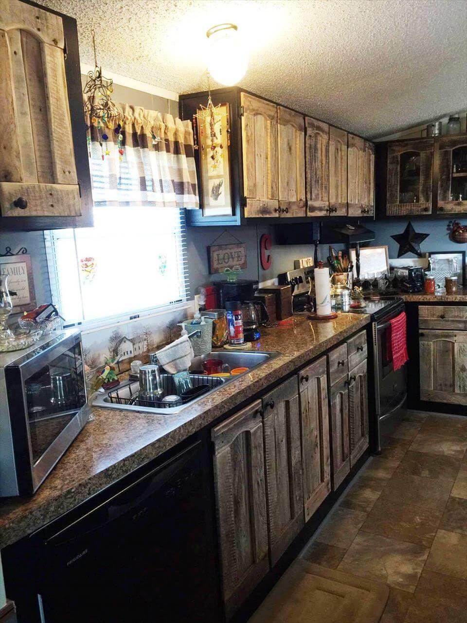 Kitchen Cabinets Using Old Pallets   Pallet kitchen ...