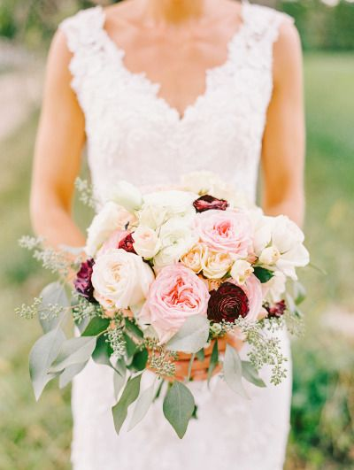 Lovely Berry And Blush Bouquet Accented With Eucalyptus Wedding Flowers Bridal Burgundy