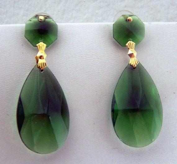 Large Emerald Green Earrings Inspired By Pair Worn Mandalarain 22 00