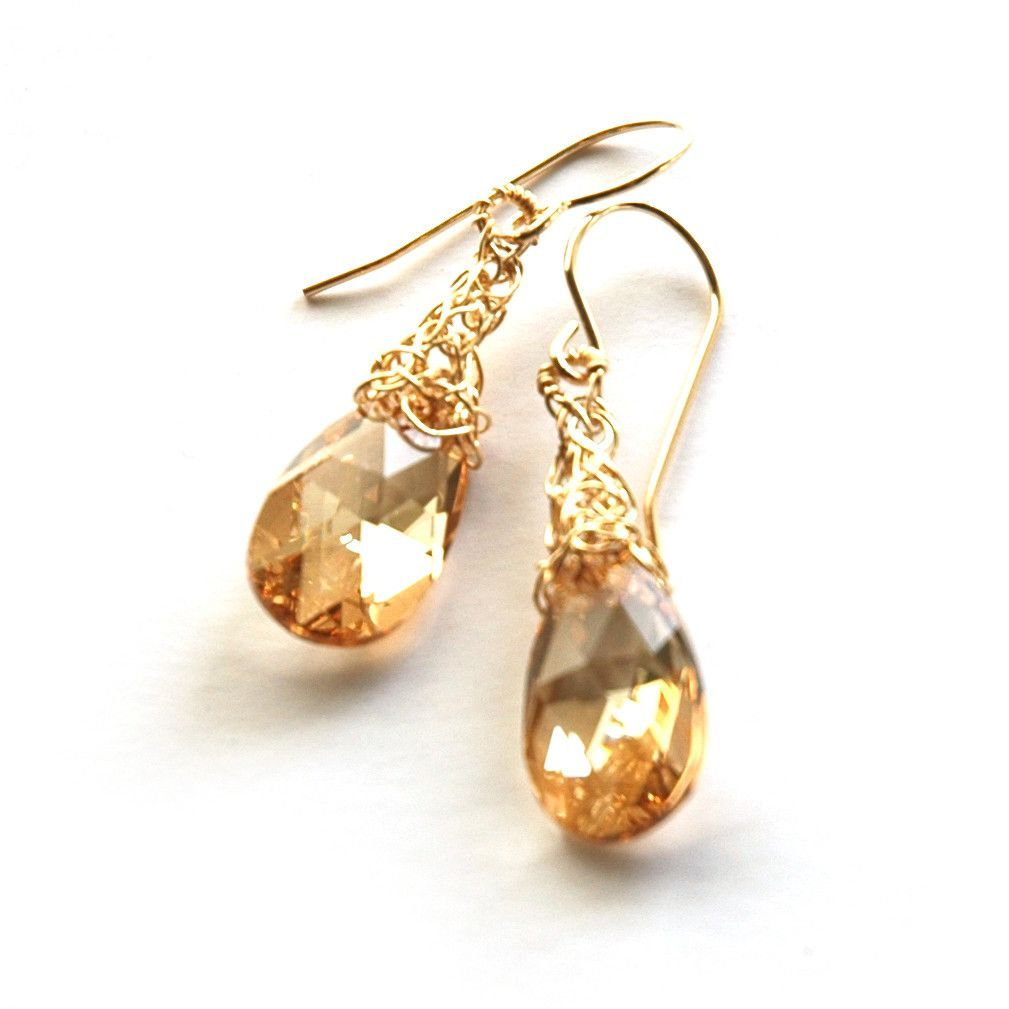 1d239f868 Swarovski crystal earrings, champagne hanging drop shape swarovski crystals  on a handmade wire crocheted gold filled element. A classic sparkly pair of  ...