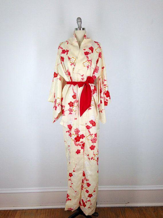 ce756d8ed Vintage Kimono / Pastel Yellow Satin Brocade / Red Cherry Blossom Print # kimono #vintagekimono