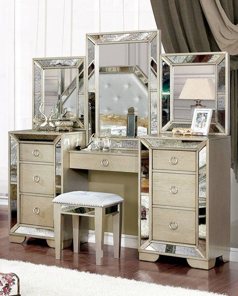 Furniture Of America Loraine Silver Vanity Set Furniture Of America Silver Vanity Vanity Set
