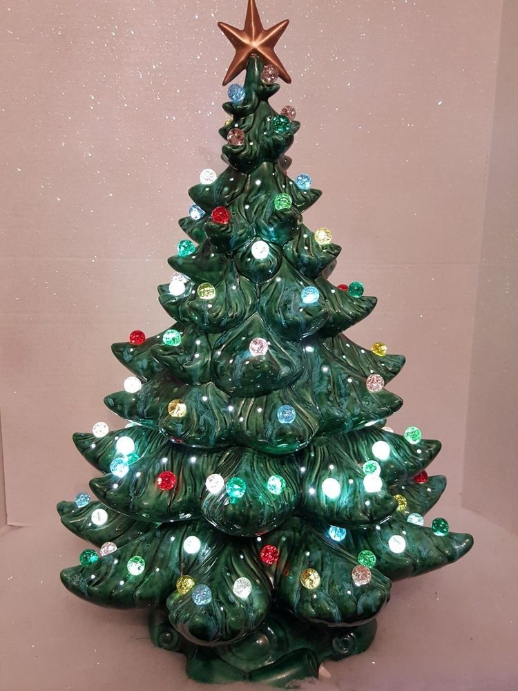 vintage ceramic musical christmas tree 24 atlantic mold marble light ornaments in collectibles holiday - Musical Christmas Tree Lights