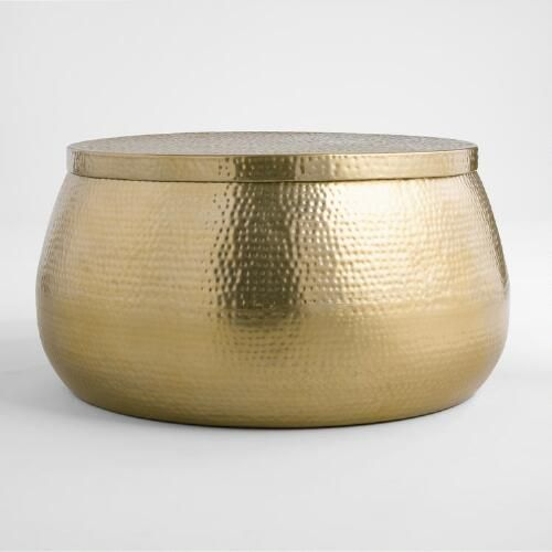 Hand Hammered Steel With A Lustrous Gold Finish Gives Our Exclusive Coffee Table Its Eclectic B Round Gold Coffee Table Gold Coffee Table Hammered Coffee Table