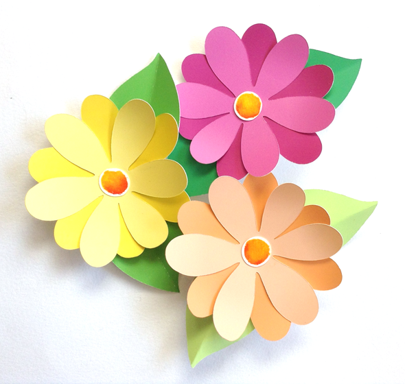 These paper flowers were made from discarded paint samples for Painted paper flowers