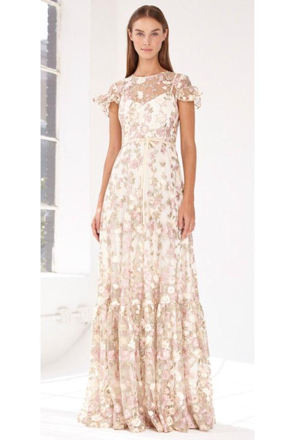 e195d2770d7 ML Monique Lhuillier Blush Gold Short Sleeve Floral Lace Evening Gown