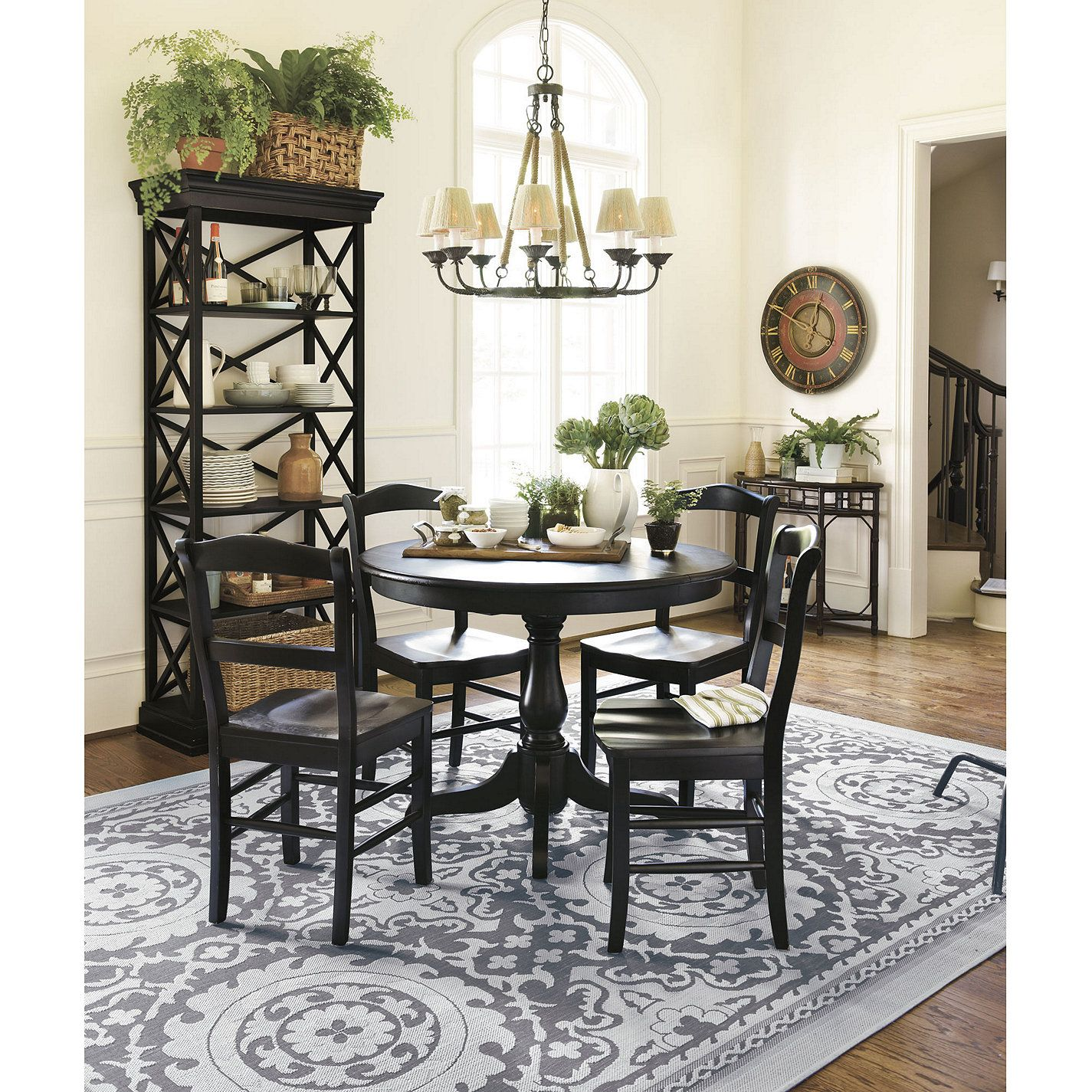 Big rug under the dining table | 5 piece dining set ...