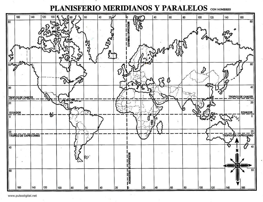 Planisferio Meridianos Y Paralelos Con Nombres Actividades De Geografia Geografia Para Ninos Aula De Geografia