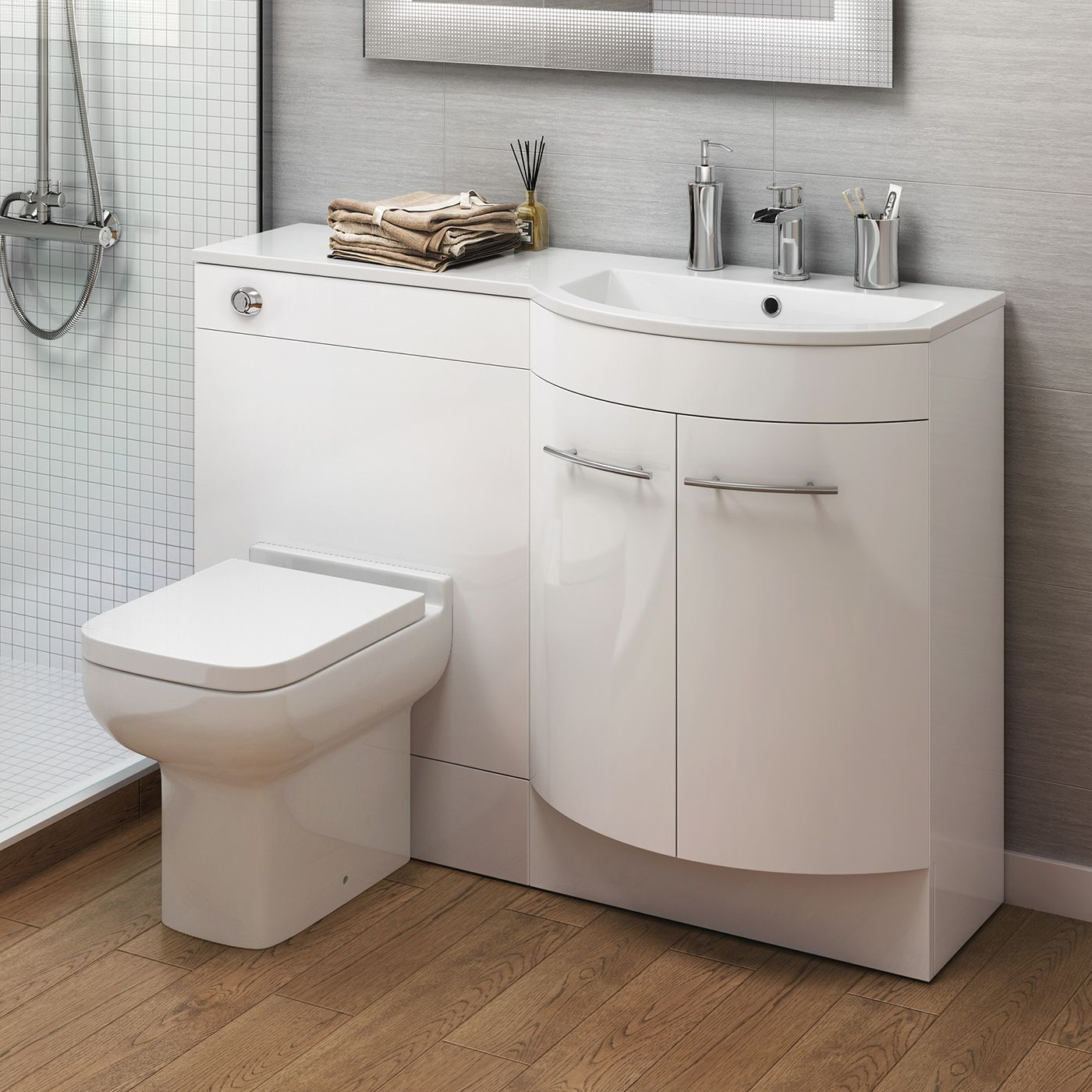 1200m Alexis White Gloss Right Hand Vanity Unit Short Projection Pan Bathroom Storage Units Bathroom Sink Units Toilet And Sink Set