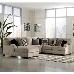 Signature Design By Ashley Katisha Platinum 4 Piece Sectional Sofa With Left Chaise Living Room Sectional Living Room Sets Living Room Furniture