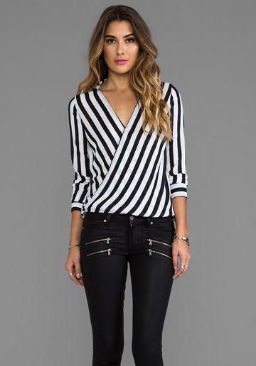 BB DAKOTA Paxton Gatsby Striped Blouse in Black & White
