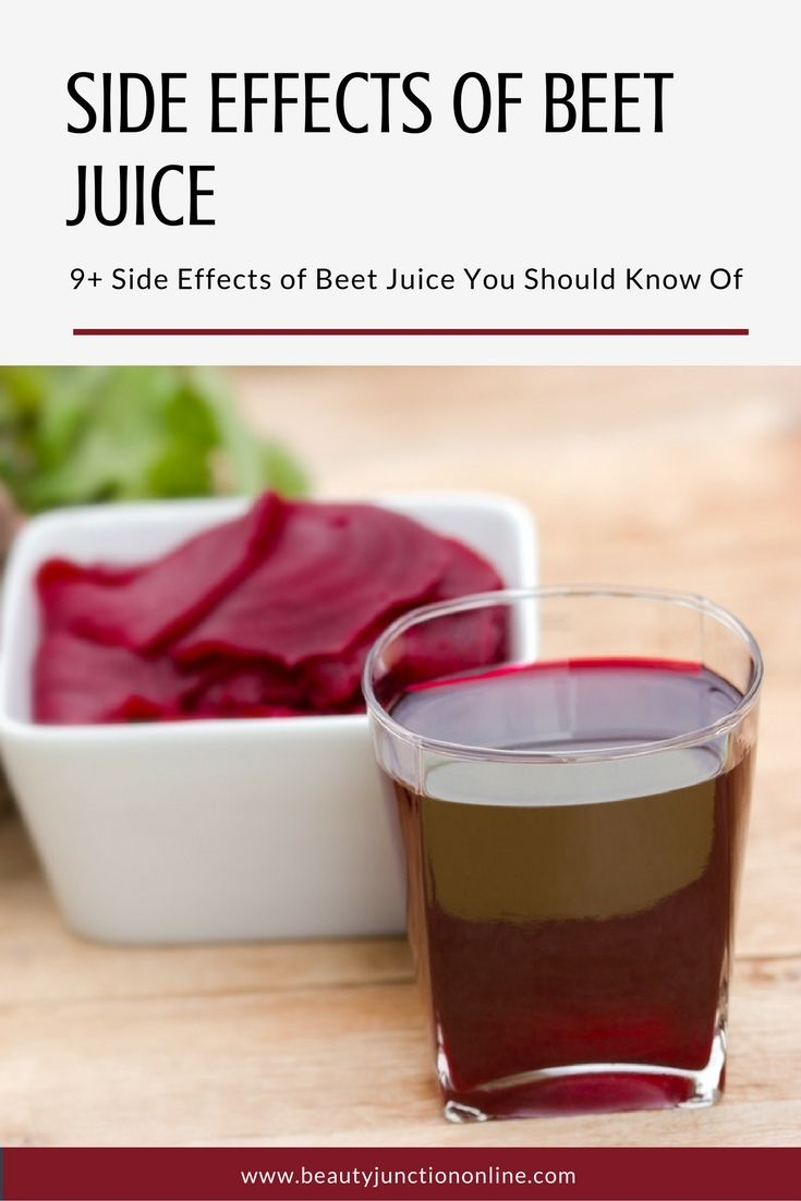 What are some side effects of beet juice?
