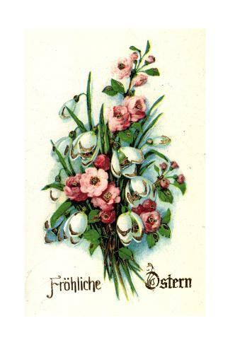 size: 24x16in Giclee Print: Künstler Glitzer Frohe Ostern, Glockenblumen :
