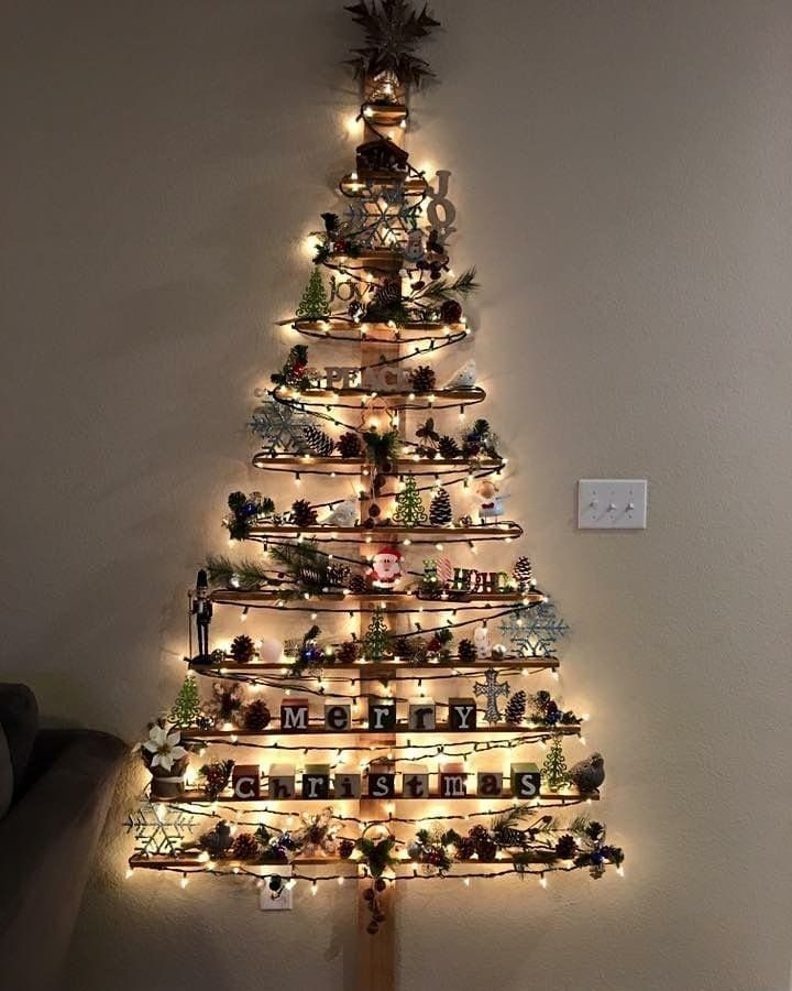 Arbolitos Navideños De Pared Arbol De Navidad Original Arbol De Navidad Pared árboles De Navidad Creativos