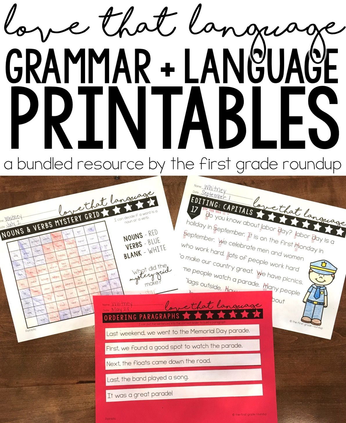 Grammar Worksheets For First Grade Bundle