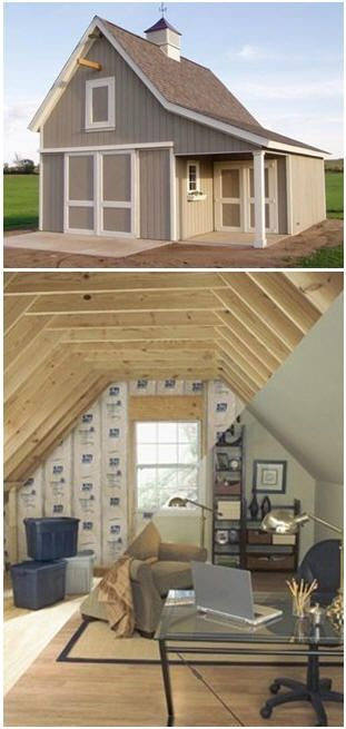 A combination garage shed and loft office this for Build office in garage