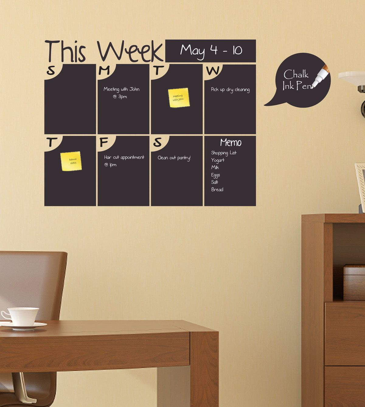 Weekly Chalkboard Calendar, Chalkboard Calendar with Memo Area ...