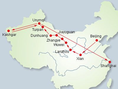 Gansu China Map.Silk Road Route Through Gansu And Xinjiang Pilgrimages