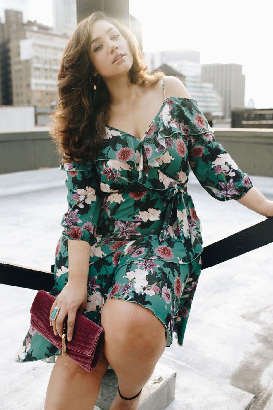 35600385cc Plus Size Paris Floral Wrap Dress
