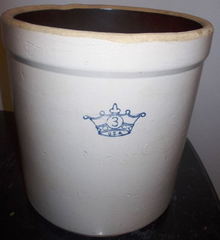 Vintage 3 Gallon Blue Crown Robinson Ransbottom Stoneware