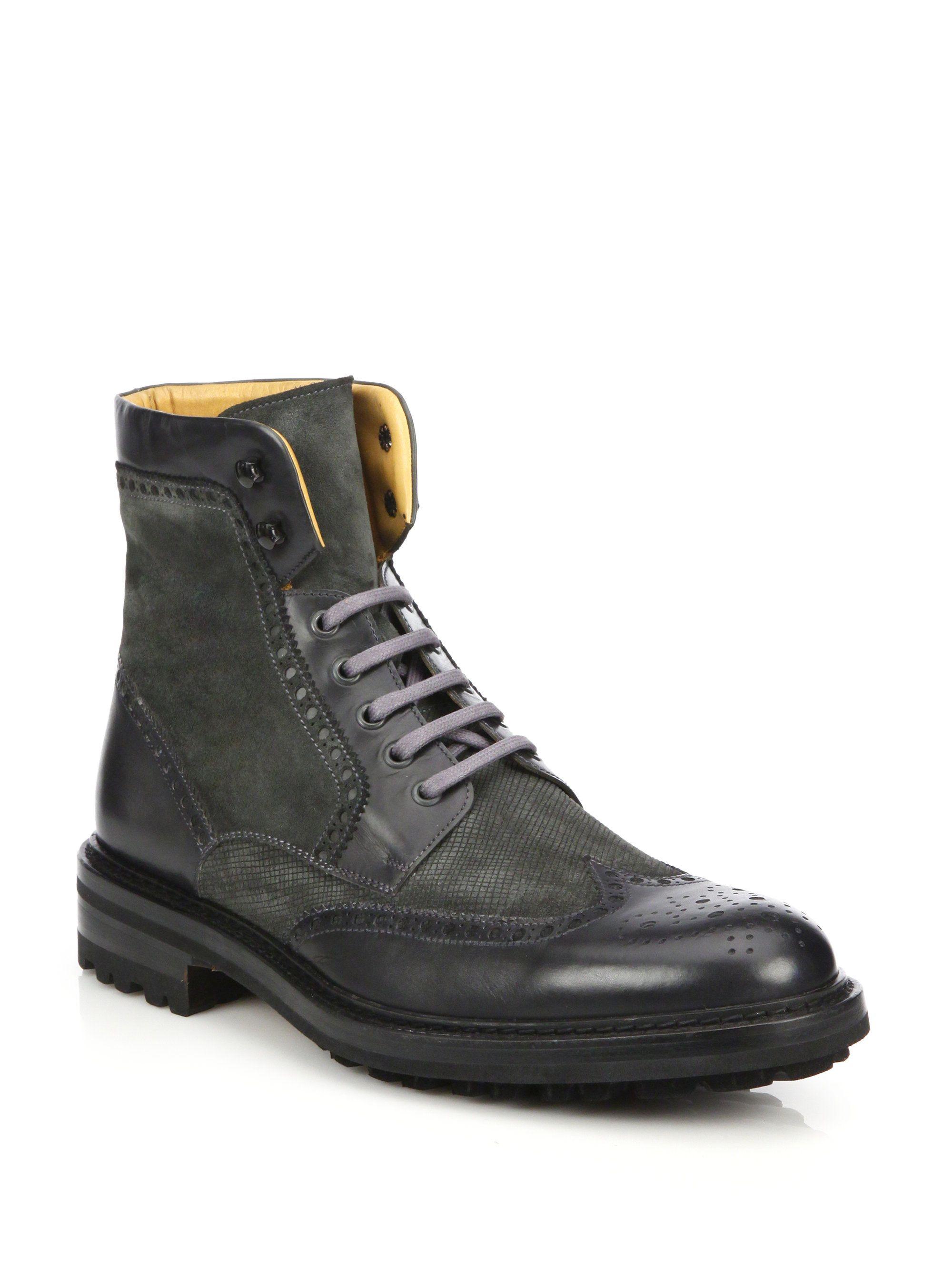 Saks Fifth AvenueCOLLECTION Wingtip Suede Combat Boots XNWHyT4