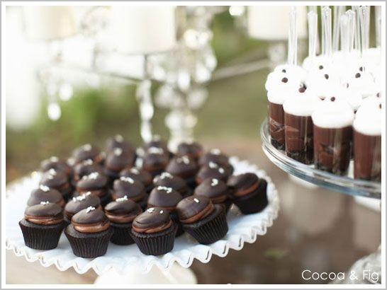 Sinfully Chocolate Mini Cupcakes! I spy chocolate with chocolate topped with more chocolate….