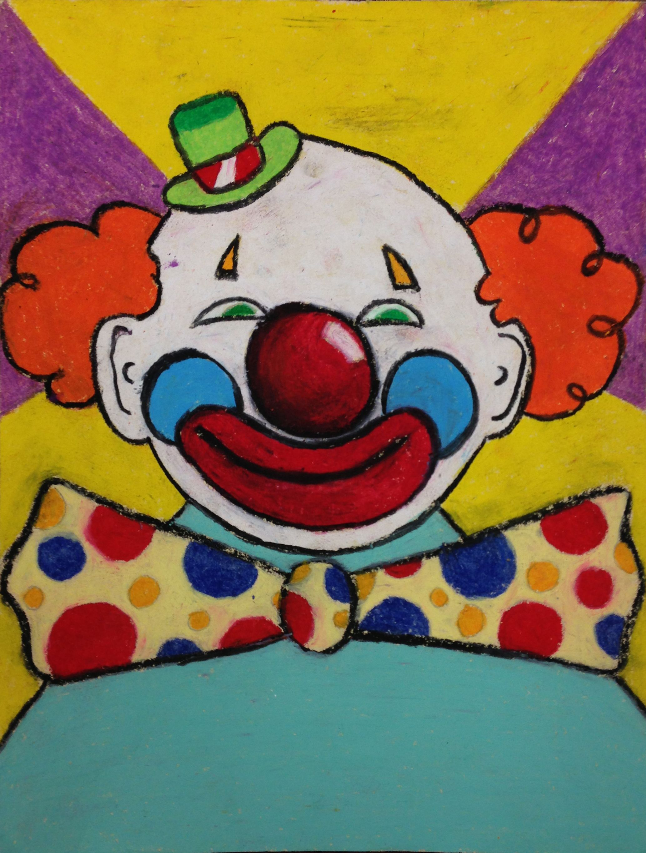 Clowns With Oil Pastel
