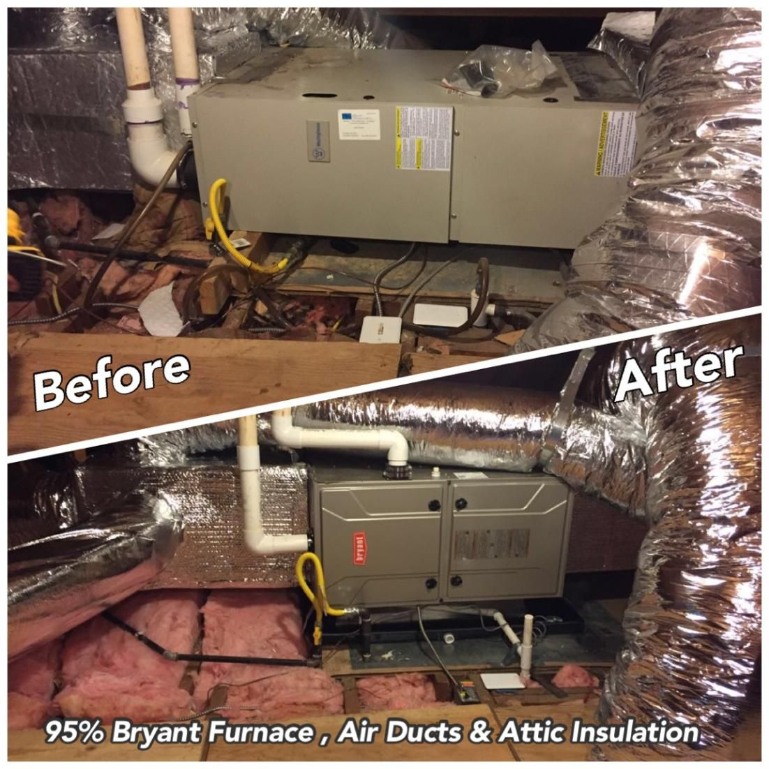 Before after photos of a Bryant furnace, air ducts, and