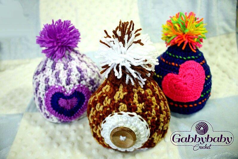 Gorritos al Crochet talla 0 a 6 meses (Pompón)   GabbybabyCrochet ...