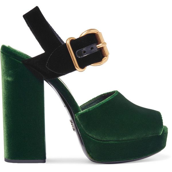 d0ff5df923b Prada Two-tone velvet sandals ( 720) ❤ liked on Polyvore featuring shoes