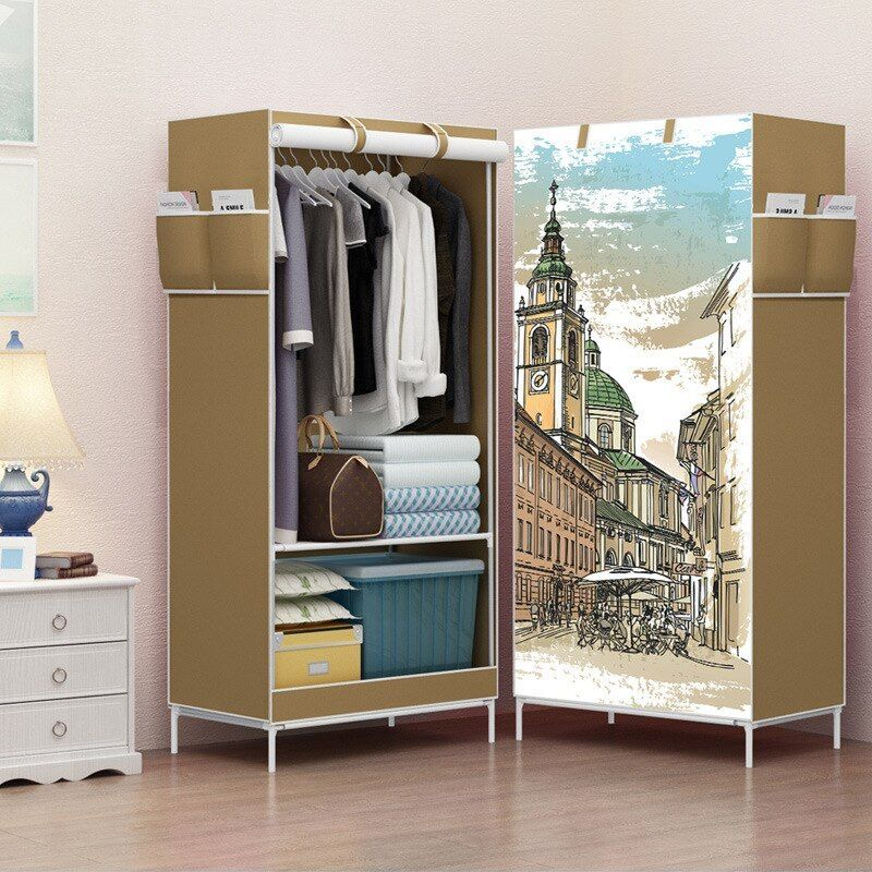 Cartoon Cloth Wardrobes Storage Cabinet Non Woven Panorama Folding Cloth Closet 3d Wardrobe Small W Wardrobe Storage Cabinet Portable Wardrobe Closet Furniture