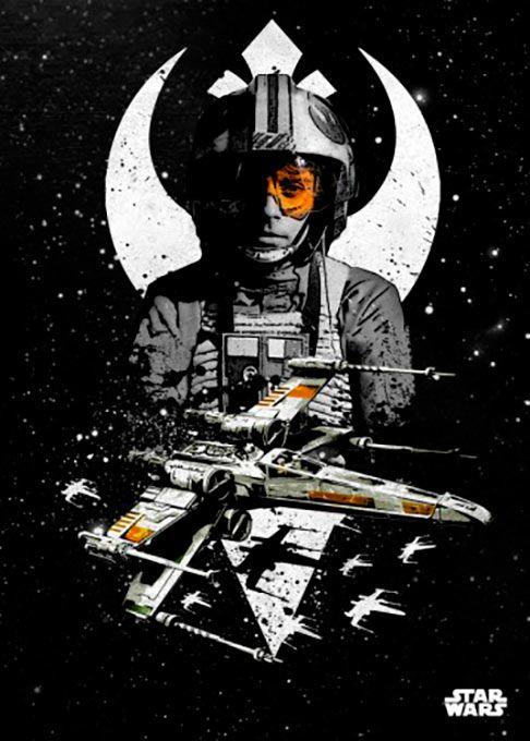 Poster metálico Luke y X-Wing, 45 x 32 cm. Star Wars Pilots  Un poster metálico con luke Skywalker frente a su nave, la X-Wing que tantas alegrías le ha dado.  Por su estructura de metal este poster es resistente y además de fácil montaje.