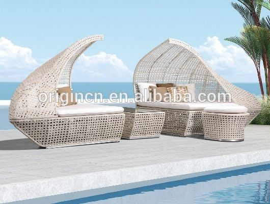 resin rattan woven home hotel outdoor canopy bed and coffee table