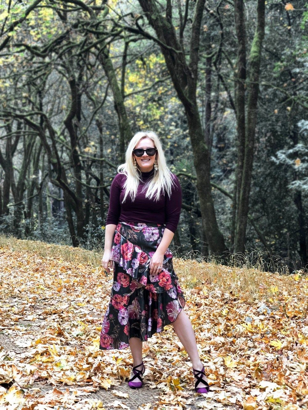 Holiday party ready in this winter floral skirt and burgundy turtleneck.   holidaystyle  holidaypartyoutfit  winterstyle  holidayoutfit 2bf4bf9cd